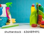 colorful cleaning products | Shutterstock . vector #636489491