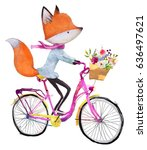 cute fox girl on bicycle with... | Shutterstock . vector #636497621