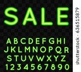neon alphabet with sale text.... | Shutterstock .eps vector #636515879