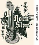 rock star music emblem | Shutterstock .eps vector #636524081