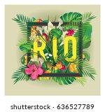 vector floral framed... | Shutterstock .eps vector #636527789