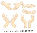 set of images of human hands in ... | Shutterstock .eps vector #636529295