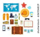 travel  rest on the sea ... | Shutterstock .eps vector #636536819