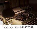 old typewriter at night with... | Shutterstock . vector #636539357