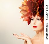 beauty girl showing empty copy... | Shutterstock . vector #636541415