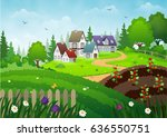 houses on a grassland | Shutterstock .eps vector #636550751