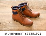 Men's Brown Boots On Old Woode...