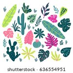 vector set with wild tropical... | Shutterstock .eps vector #636554951