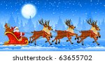 christmas santa claus riding on ... | Shutterstock .eps vector #63655702