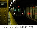 subway train arriving at the... | Shutterstock . vector #636561899
