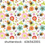 seamless pattern. insects and... | Shutterstock .eps vector #636562001