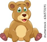 cute bear cartoon. vector... | Shutterstock .eps vector #636573191