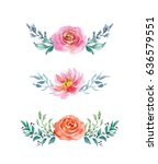 Stock photo painted watercolor set of flowers on white background elements for design valentine s day mother 636579551