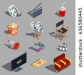 vector set of isometric... | Shutterstock .eps vector #636580445