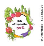sale of vegetables  banner  50 .... | Shutterstock .eps vector #636583199