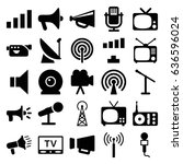 broadcast icons set. set of 25... | Shutterstock .eps vector #636596024