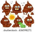 set of brown emoji poop cartoon ... | Shutterstock .eps vector #636598271