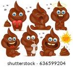 set of brown emoji poop cartoon ... | Shutterstock .eps vector #636599204