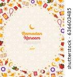 ramadan kareem concept vertical ... | Shutterstock .eps vector #636603485