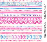seamless watercolor ethnic... | Shutterstock . vector #636607837