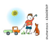 a boy is playing with the dog... | Shutterstock .eps vector #636608569