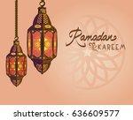 ramadan kareem lamp | Shutterstock .eps vector #636609577
