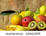 Colored fruits basket. - stock photo