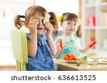 cute kids eating healthy food... | Shutterstock . vector #636613525