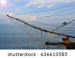 Small photo of Masthead on fishing boat One pair of birds on the rope.