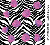 striped background with roses | Shutterstock .eps vector #636616729