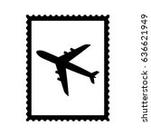 postal stamp icon with air... | Shutterstock . vector #636621949