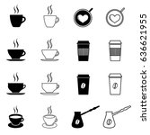 set of coffee and tea icons.... | Shutterstock . vector #636621955