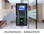 electronic key and finger scan... | Shutterstock . vector #636623425