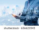 double exposure of businessman... | Shutterstock . vector #636623545