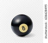billiard ball isolated on white ...   Shutterstock .eps vector #636628495