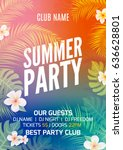 summer tropical party flyer... | Shutterstock .eps vector #636628801