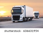 trucks moves on the country... | Shutterstock . vector #636631954