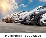 cars for sale stock lot row.... | Shutterstock . vector #636632101