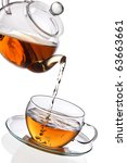 tea being poured into glass tea ... | Shutterstock . vector #63663661