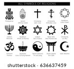 religion icons set. set of 19... | Shutterstock .eps vector #636637459