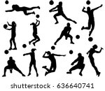 set of volleyball player... | Shutterstock .eps vector #636640741