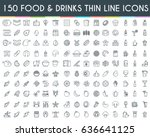 Food and drinks thin line icons set. Vector Illustration | Shutterstock vector #636641125