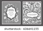 vintage floral wedding... | Shutterstock .eps vector #636641155