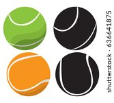 set of tennis balls on a white... | Shutterstock .eps vector #636641875