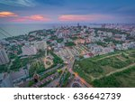 pattaya city and sea with suset ... | Shutterstock . vector #636642739