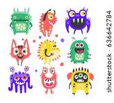 friendly cartoon funny monsters ... | Shutterstock .eps vector #636642784