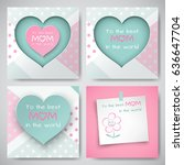 set of green and pink greeting... | Shutterstock .eps vector #636647704
