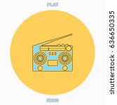boombox blue outline vector...