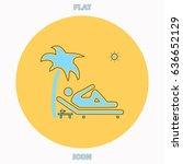 beach blue outline vector icon  ...