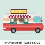 mobile food car. vector | Shutterstock .eps vector #636653731